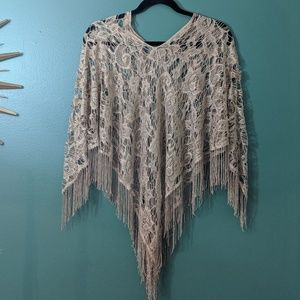Gold lace with sheen wrap shawl pancho